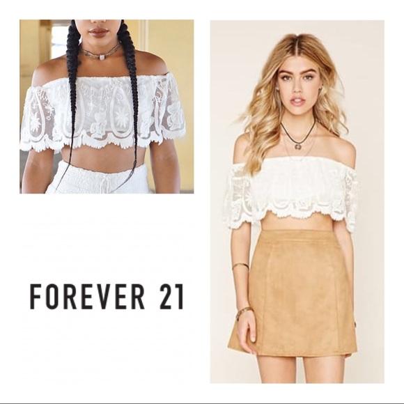 136fe2ec9d6d6 New Forever 21 Lace Off The Shoulder Crop Top